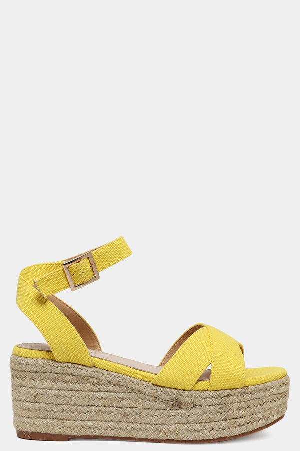 Yellow Canvas Straps Chunky Espadrille Flatform Sandals - SinglePrice