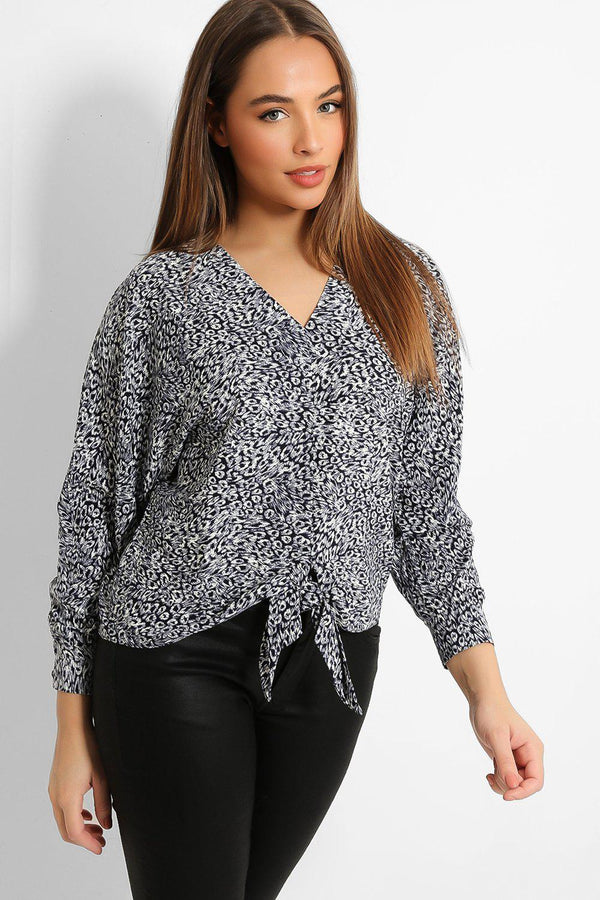 Navy Leopard Print Front Knot Top