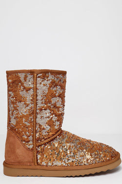 Gold Magic Sequins Camel Warm Boots - SinglePrice