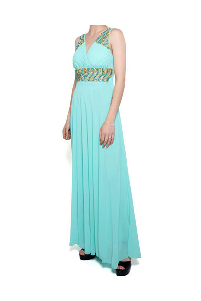 Green Beaded V-Neck Chiffon Maxi Dress-SinglePrice