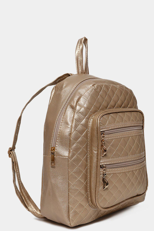 Double Zip Front Pocket Gold Quilted Backpack-SinglePrice