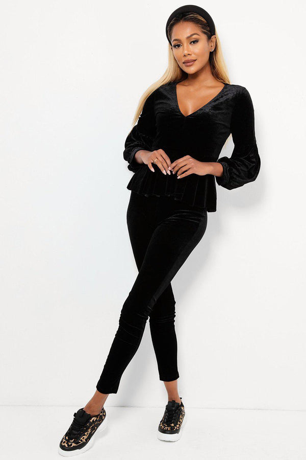 Black Velvet Puff Sleeve Elegant Two Piece Loungewear-SinglePrice