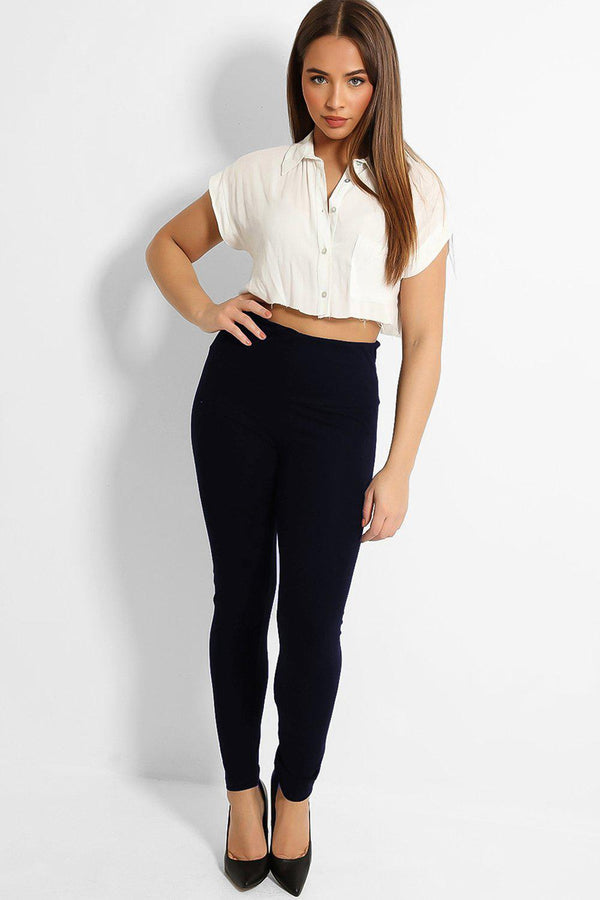 Navy High Waist Yoke Cotton Leggings-SinglePrice