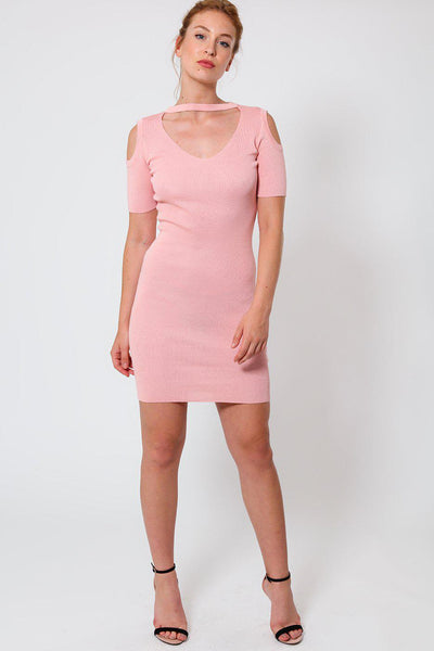 Pink Cold Shoulder Knitted Choker Dress-SinglePrice