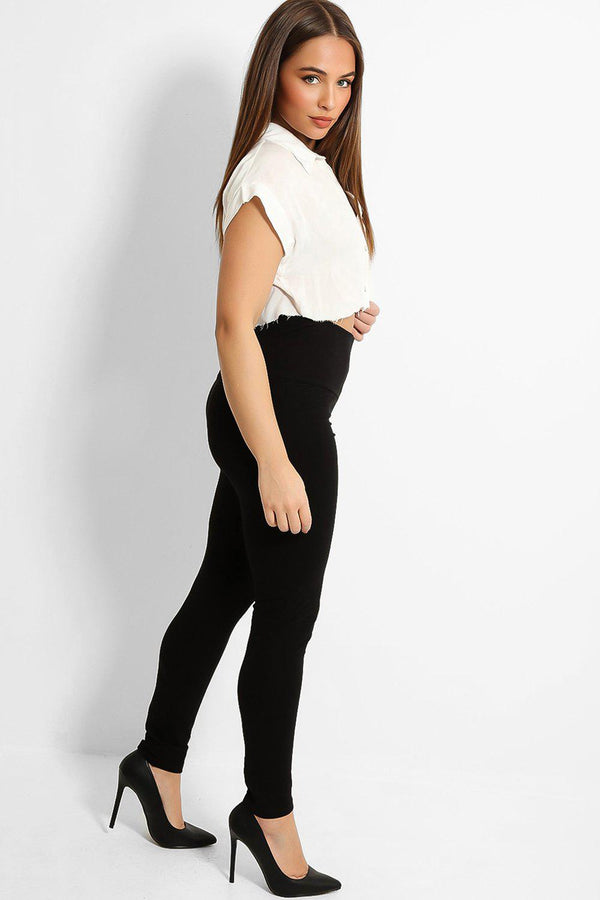 Black High Waist Yoke Cotton Leggings-SinglePrice