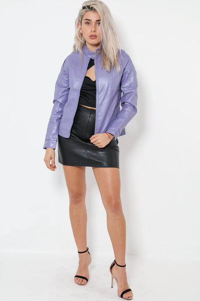 High Neck Purple Vegan Leather Jacket