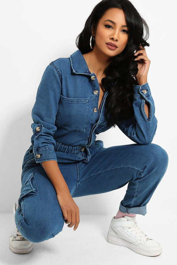 Denim Blue Utility Boiler Jumpsuit