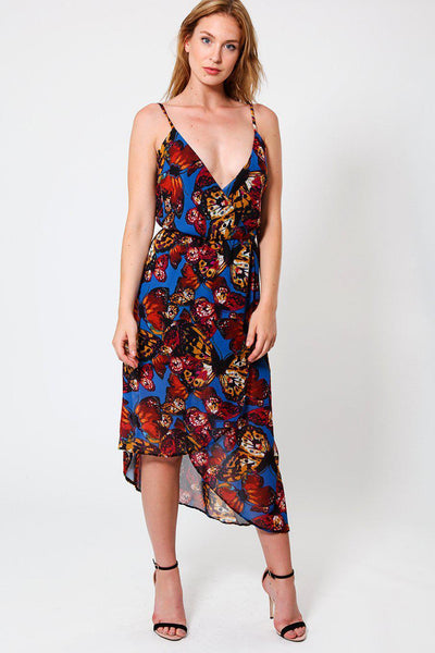 Blue Butterfly Print Low High Wrap Dress-SinglePrice