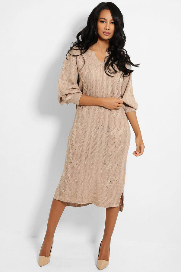 Taupe Notch Neckline Knitted Midi Dress