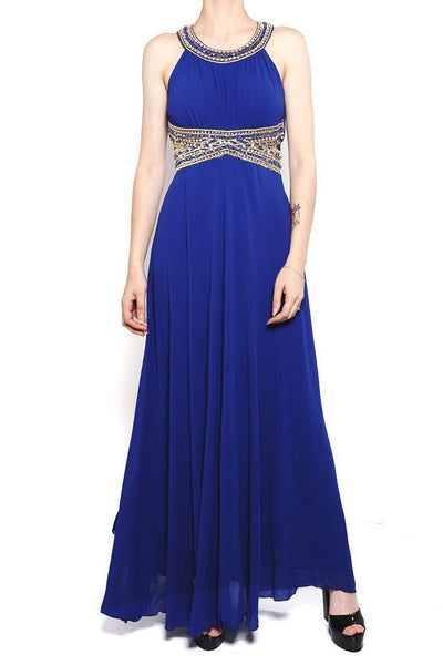 Blue Beaded Waist Chiffon Maxi Dress-SinglePrice