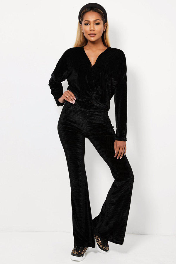 Black Checked Soft Velvet Two Piece Loungewear-SinglePrice