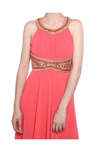 Coral Beaded Waist Chiffon Maxi Dress-SinglePrice