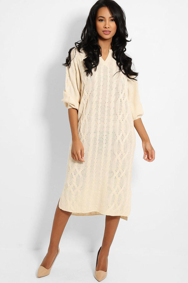 Cream Notch Neckline Knitted Midi Dress