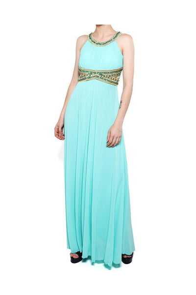 Green Beaded Waist Chiffon Maxi Dress-SinglePrice