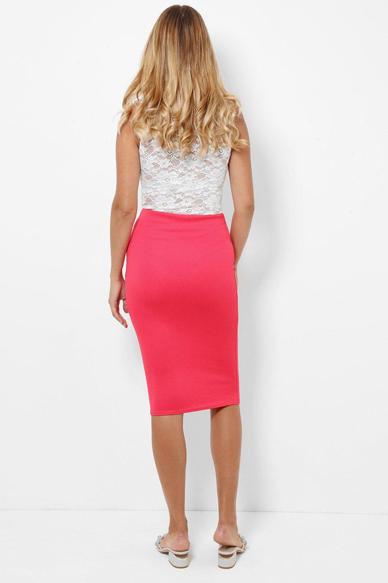 Textured Pink Pencil Midi Skirt - SinglePrice