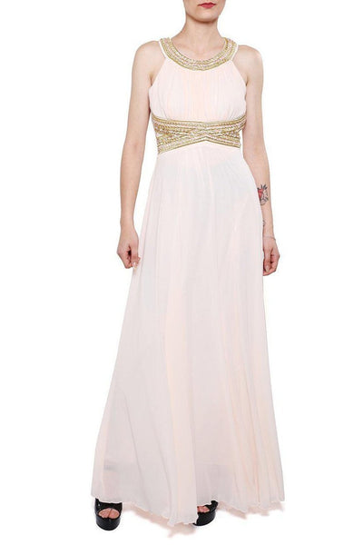 Beige Beaded Waist Chiffon Maxi Dress-SinglePrice