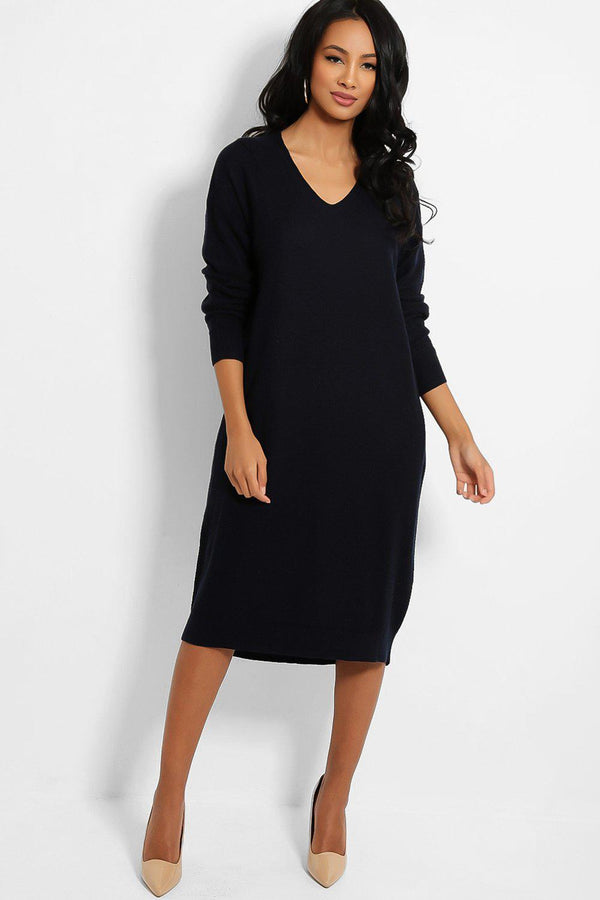 Navy V-Neck Textured Stitch Knit Jumper Dress