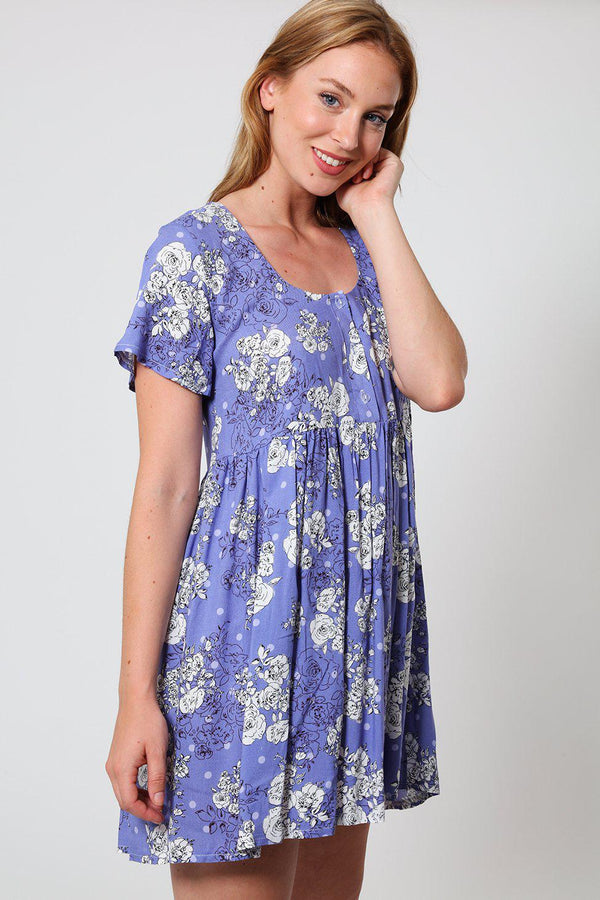High Waisted Purple Polka Dot and Floral Print Babydoll Dress-SinglePrice