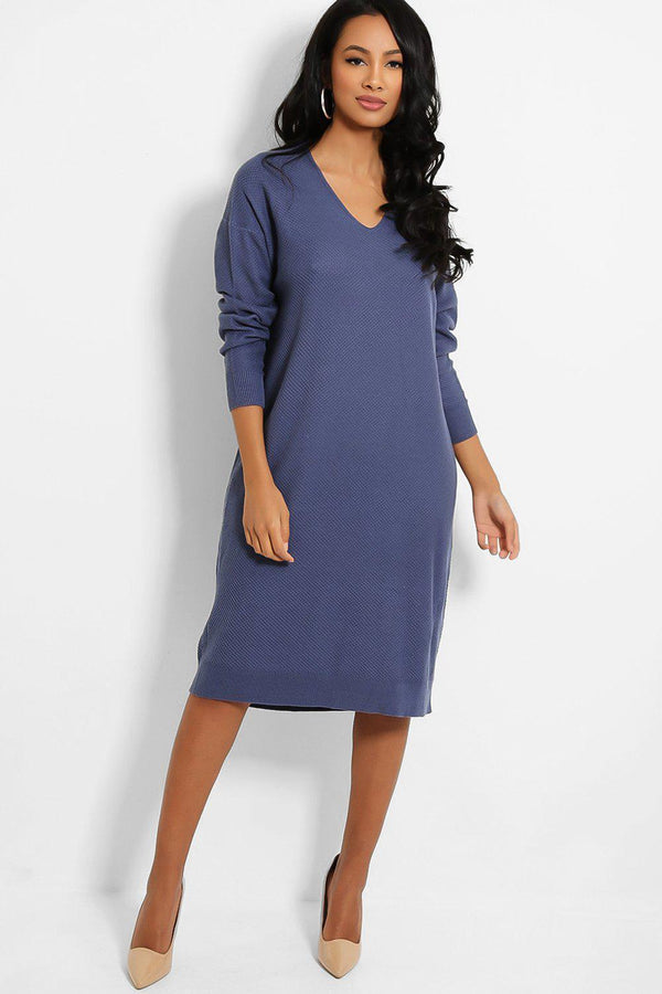 Blue V-Neck Textured Stitch Knit Jumper Dress