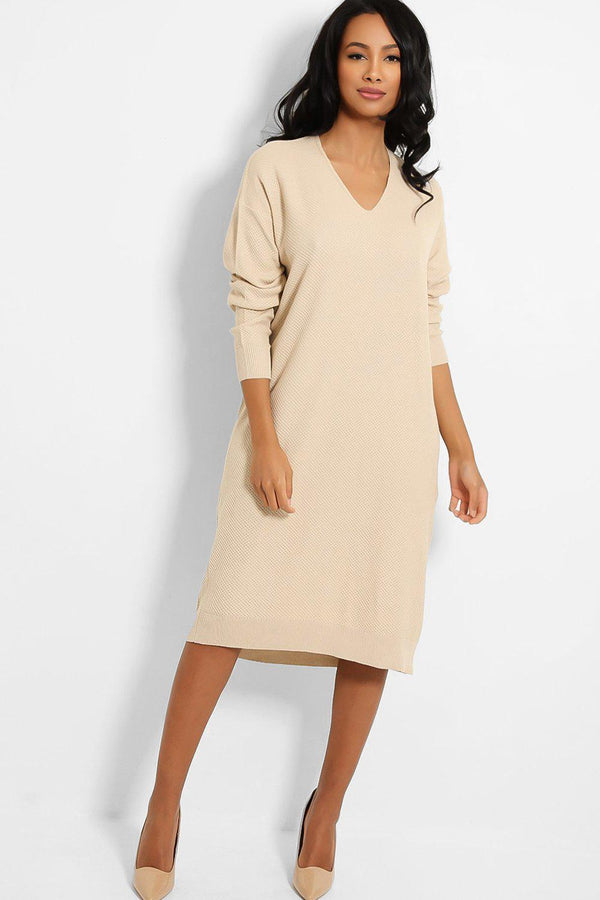 Beige V-Neck Textured Stitch Knit Jumper Dress