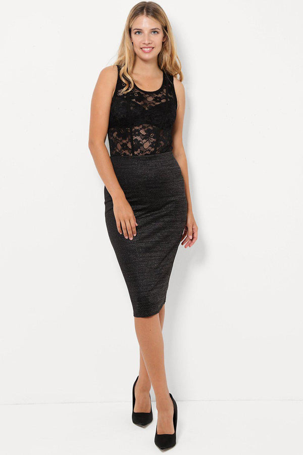 Shimmer Black Pencil Midi Skirt-SinglePrice