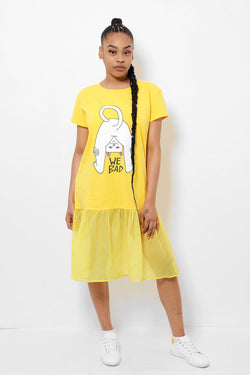 Net Frill Hem Slogan Yellow T-shirt Dress-SinglePrice