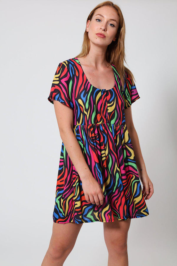 High Waisted Multicolour Zebra Print Babydoll Dress - SinglePrice