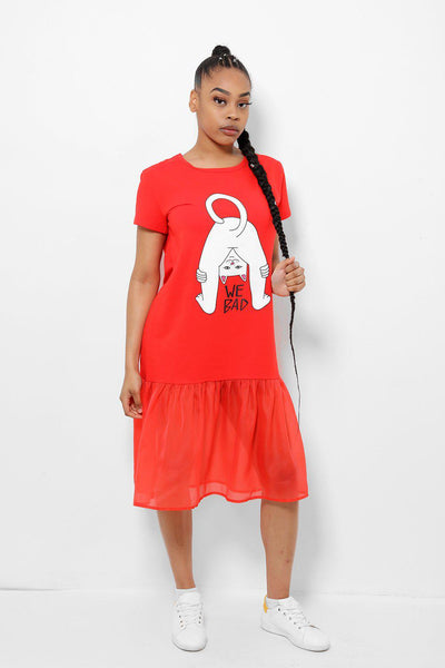Net Frill Hem Slogan Red T-shirt Dress-SinglePrice