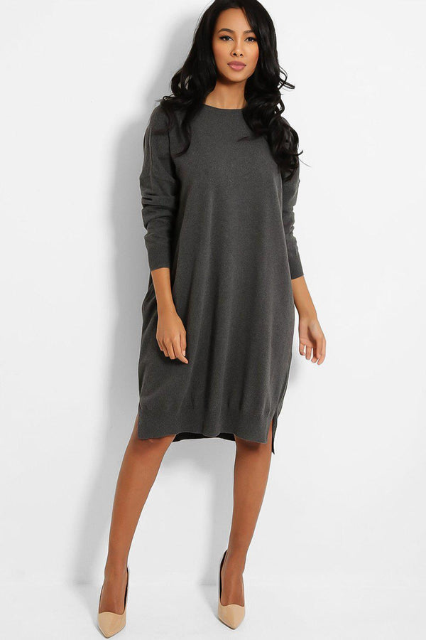Grey Drop Shoulders Lazy Fit Flat Knit Dress