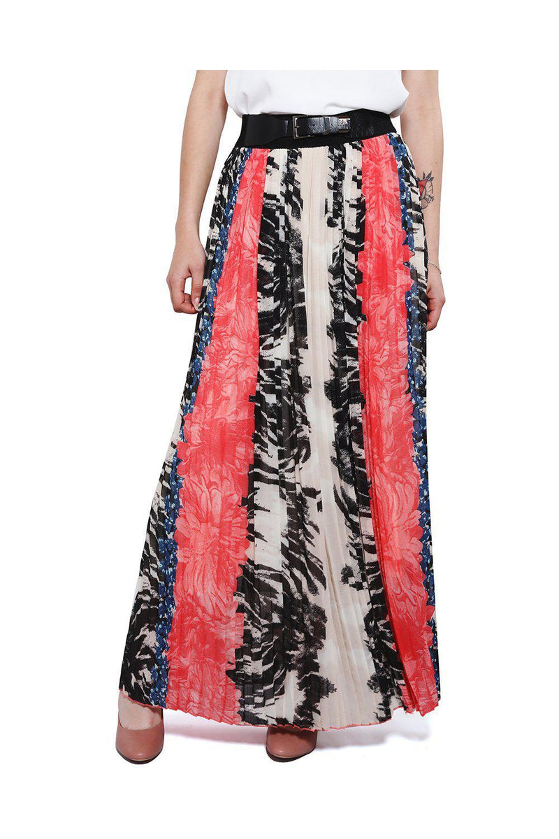 Red Pleated Chiffon Maxi Skirt - SinglePrice