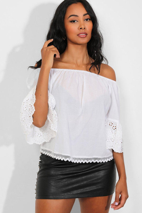 White Perforated Trims Off The Shoulder Top - SinglePrice