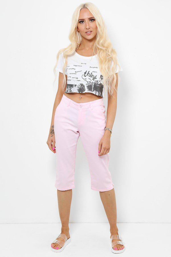 Baby Pink Mid-Rise Waist Cropped Jeans - SinglePrice