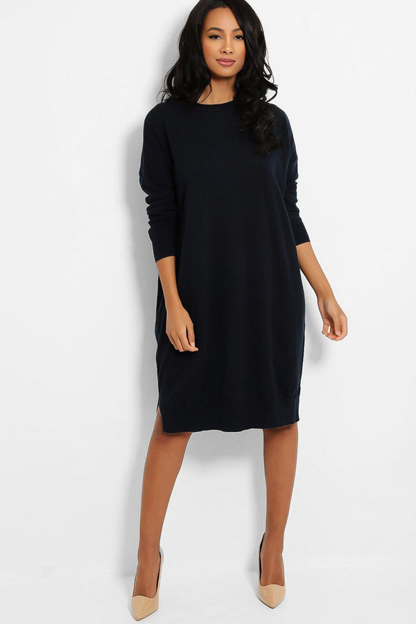 Navy Drop Shoulders Lazy Fit Flat Knit Dress