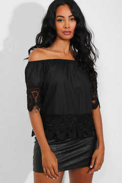 Black Crochet Lace Trims Off The Shoulder Top - SinglePrice