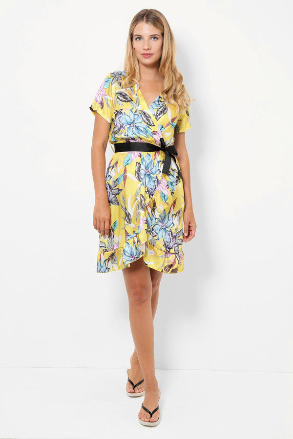 Floral Print Yellow Satin Wrap Dress-SinglePrice