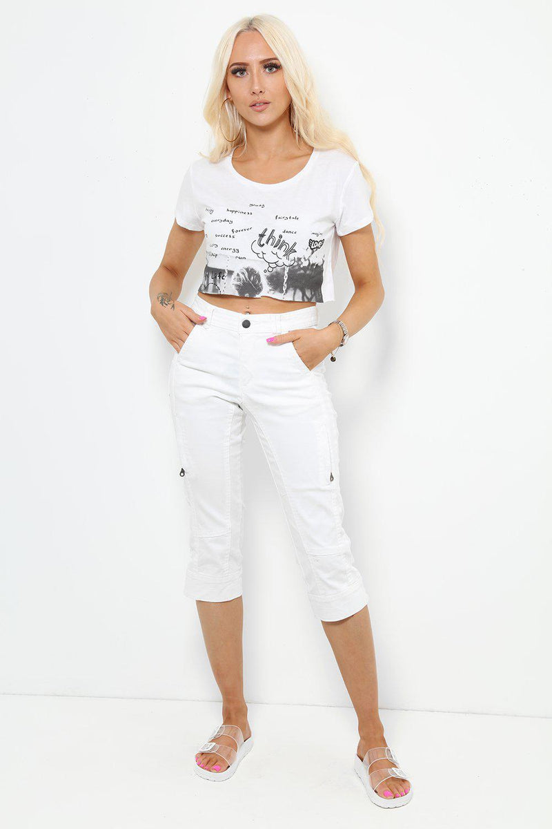 White Side Zip Pockets Capri Jeans - SinglePrice