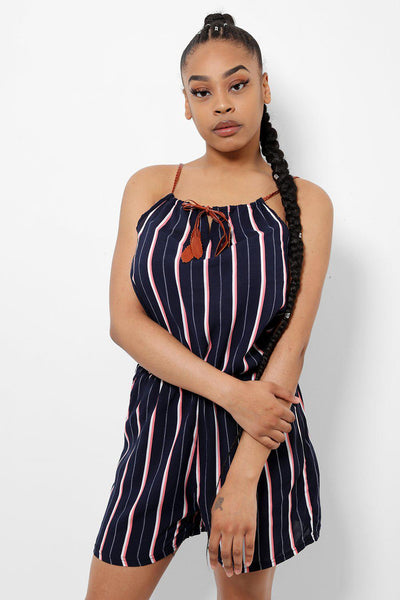 Faux Leather Straps Navy Pink Stripes Playsuit-SinglePrice