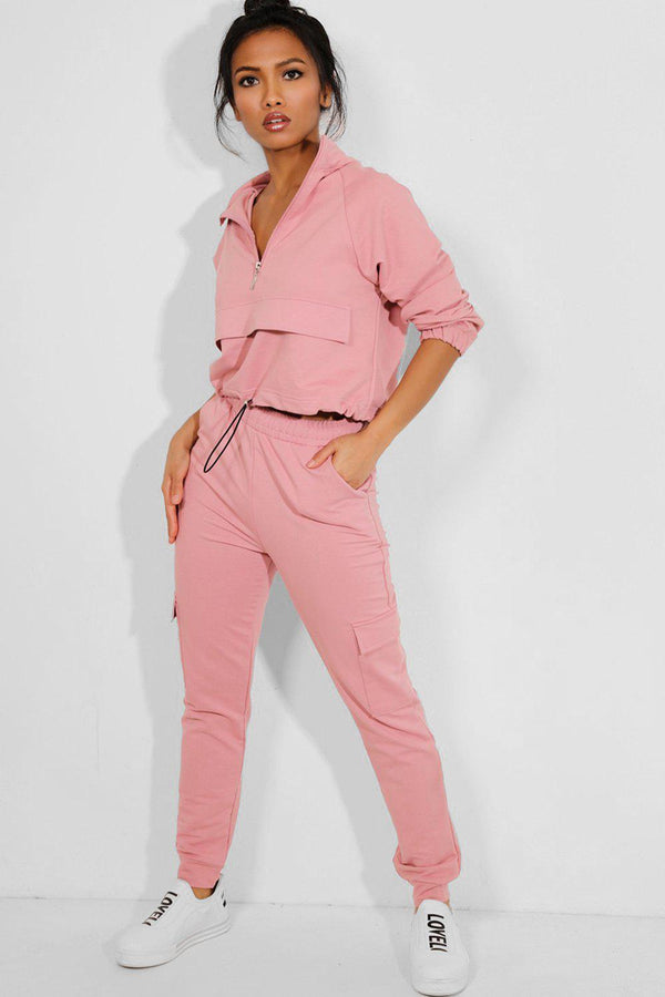 Pink Drawstring Top Cargo Two Piece Tracksuit - SinglePrice