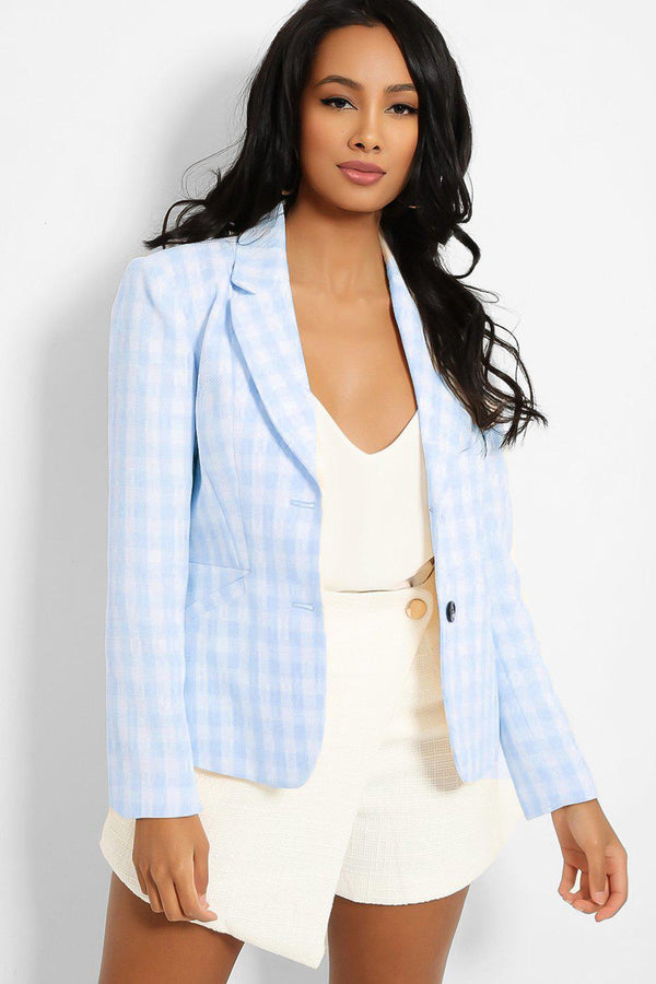 Blue Check Print Single Button Blazer