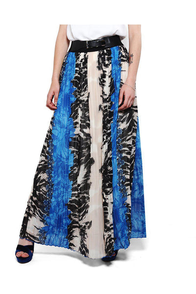 Blue Pleated Chiffon Maxi Skirt-SinglePrice
