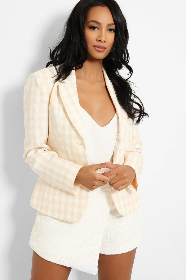 Beige Check Print Single Button Blazer