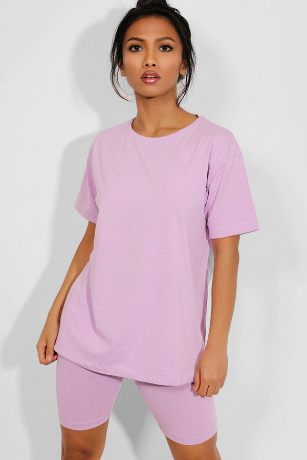 Purple Basic T-Shirt And Cycling Shorts 2 Piece Set - SinglePrice