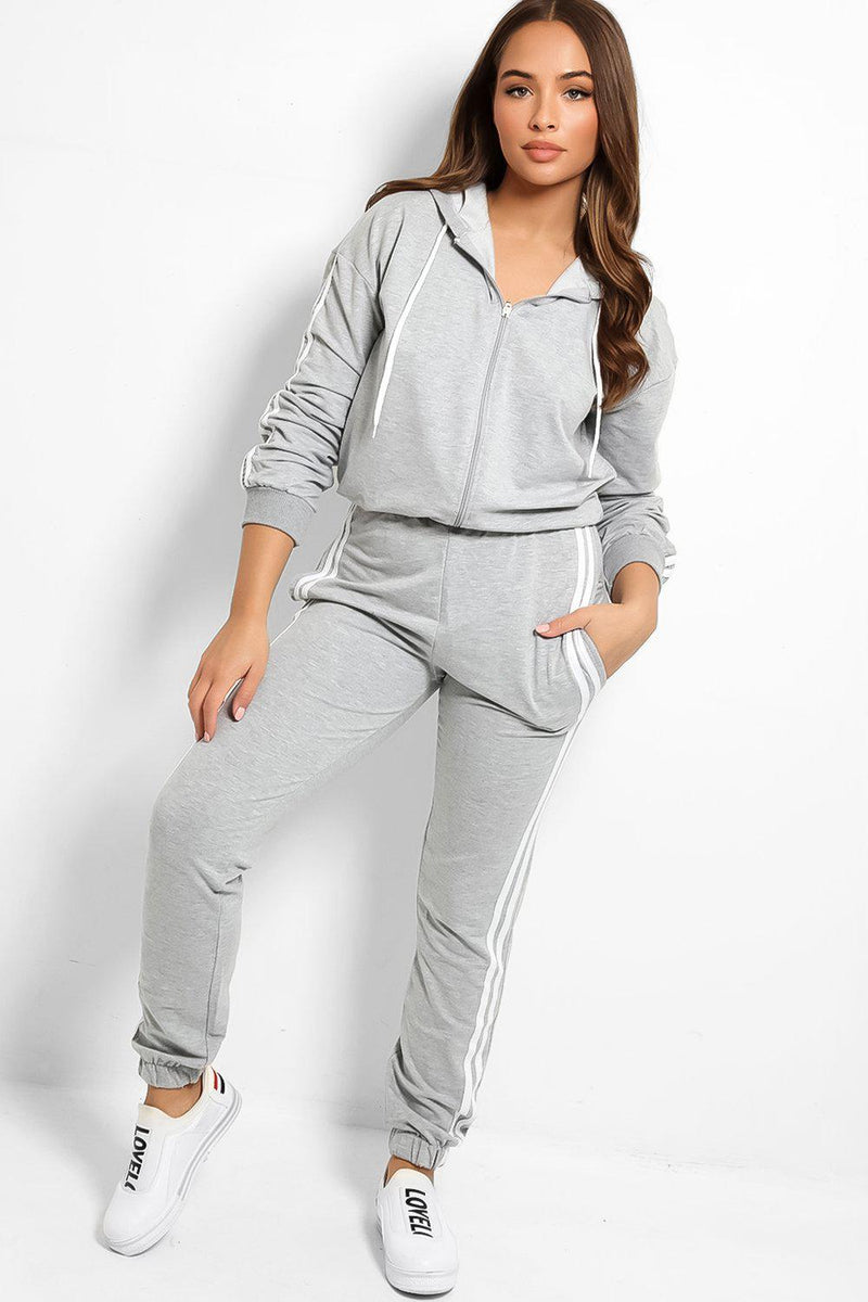 Grey Baggy Top Twin White Stripe Tracksuit - SinglePrice