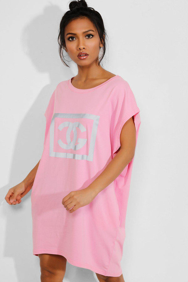 Pink Reflective Logo Pocketed T-shirt Dress - SinglePrice