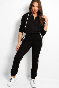 Black Baggy Top Twin White Stripe Tracksuit - SinglePrice
