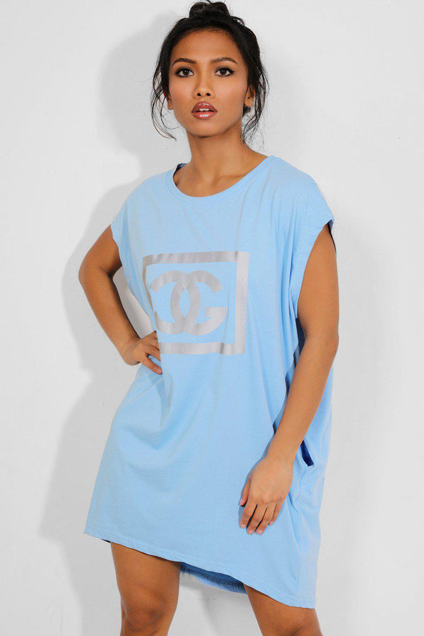Blue Reflective Logo Pocketed T-shirt Dress - SinglePrice