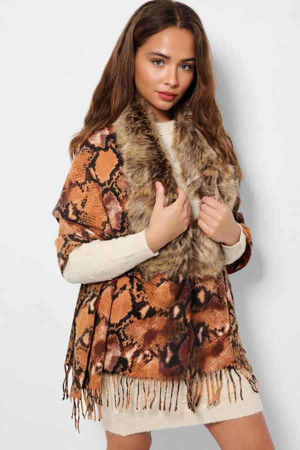 Brown Faux Fur Collar Python Print Shawl-SinglePrice