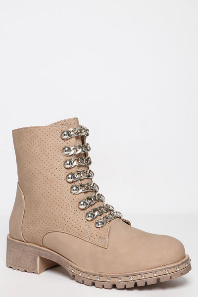 Perforated Vegan Leather Studded Khaki Boots-SinglePrice