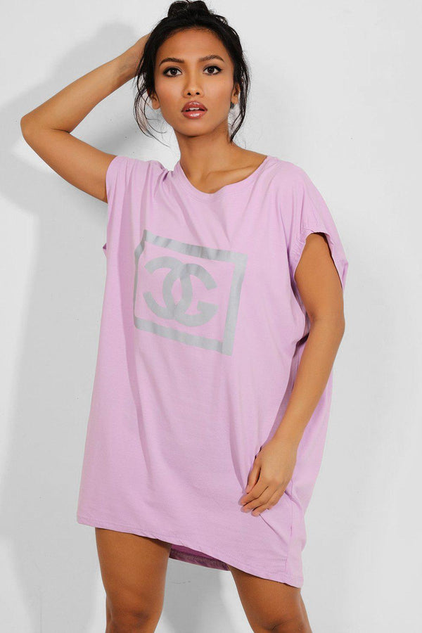 Lilac Reflective Logo Pocketed T-shirt Dress - SinglePrice