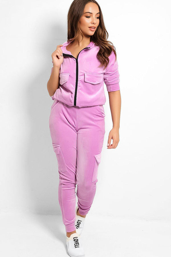 Lilac Soft Velour Cargo Tracksuit - SinglePrice